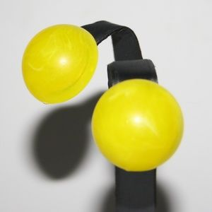 "Bright neon yellow ""marble"" earrings"